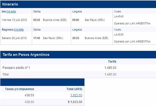 vuelo LAN Buenos Aires - San Pablo