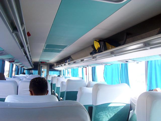 En el interior de un bus brasileño