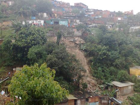 Deslizamientos de tierra en favela