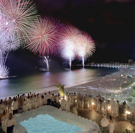 Fuegos artificiales de año nuevo, Copacabana, Río de Janeiro
