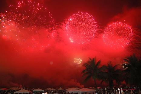 fuegos artificiales en año nuevo, Copacabana, Río de Janeiro