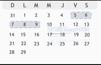Calendario Fechas Carnaval 2016